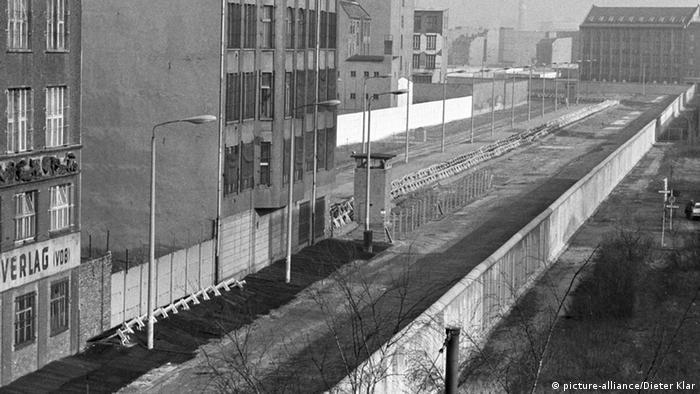 The Berlin Wall death strip at Potsdamer Platz in 1970