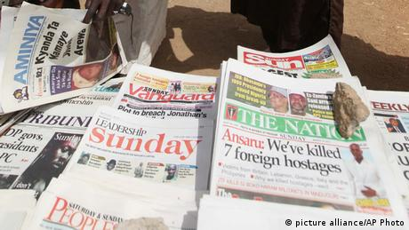 A row of newspapers in Nigeria