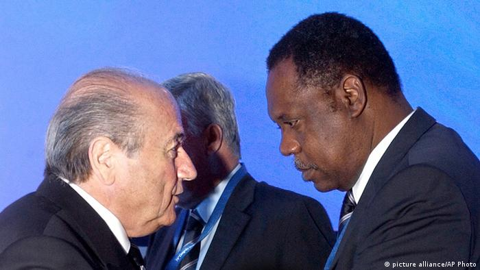 Issa Haytou (right) with ex-FIFA head Sepp Blatter