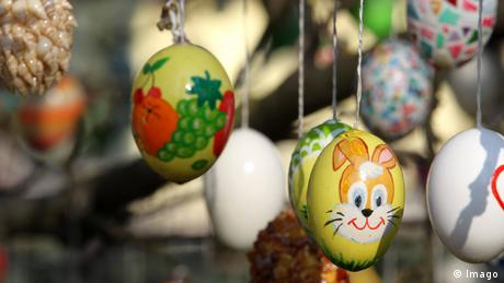 Egg decorations on trees