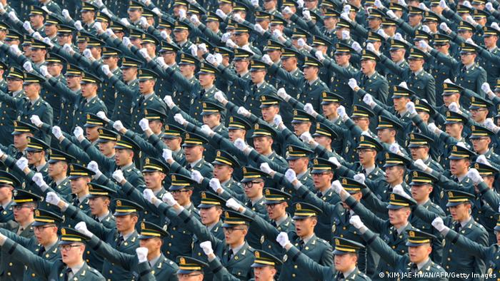 South Korean new officers chant slogans (Photo: KIM JAE-HWAN/AFP/Getty Images)