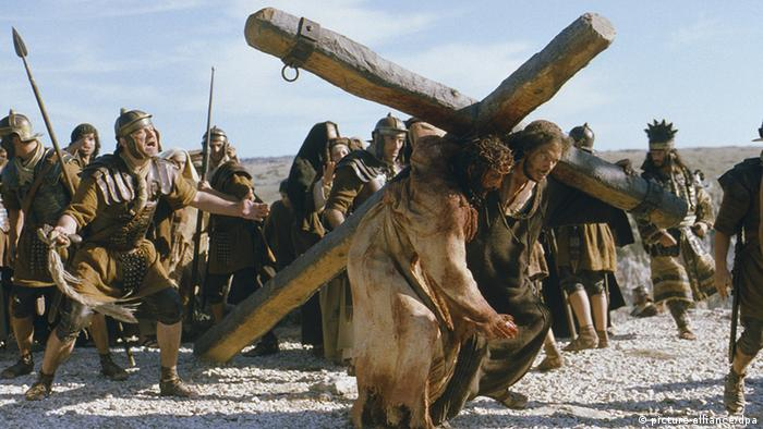 James Caviezel as Jesus Christ in the crucifixion scene from the film The Passion of the Christ by Mel Gibson.