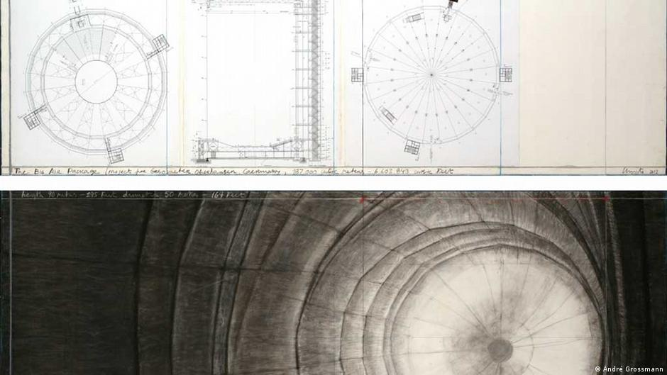 A sketch for the installation Big Air Package by Christo