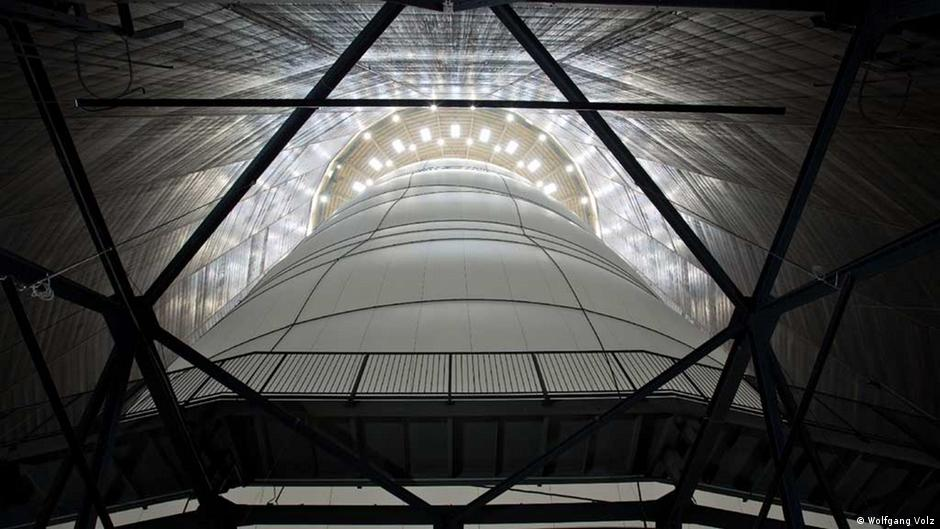 Christo's installation Big Air Package viewed from below at the Gasometer Oberhausen