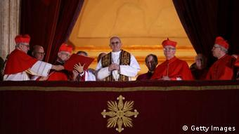 Newly elected Pope Francis appears on the central balcony of St. Peter's Basilica. (Photo: Peter Macdiarmid/Getty Images)