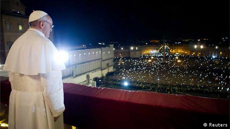 Francis greets a crowd in St. Peter's square in the Vatican (Reuters)