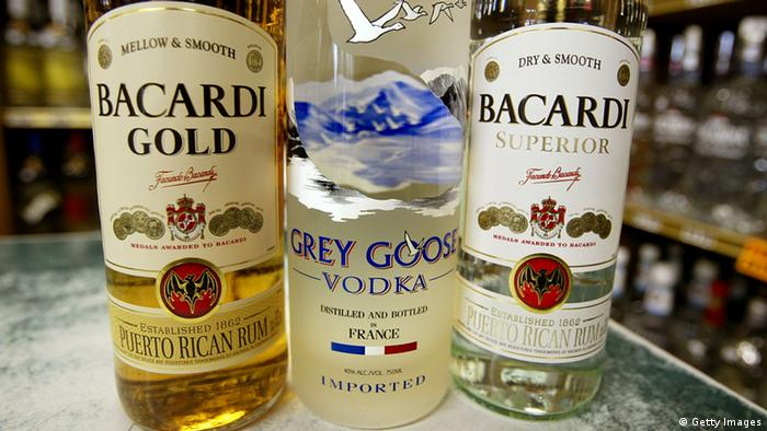 NEW YORK - JUNE 17: Bottles of Bacardi and Grey Goose spirits are seen in a liquor store June 17, 2004 in New York City. Bacardi is reportedly close to a deal to buy the Grey Goose vodka business for more than $2 billion. (Photo by Mario Tama/Getty Images)