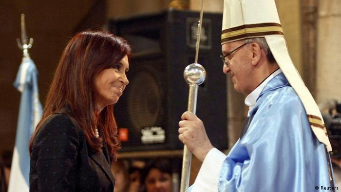 REFILE - CLARIFYING CAPTION Argentine President Cristina Fernandez de Kirchner (L) greets Argentine Cardinal Jorge Bergoglio at the Basilica of Lujan, December 22, 2008. Pope Francis, the former Cardinal Jorge Bergoglio, delivered his first blessing to a huge crowd in St Peter's Square on the night of March 13, 2013, asking for the prayers of all men and women of good will to help him lead the Catholic Church. Picture taken December 22, 2008. REUTERS/Ezequiel Pontoriero/DyN (ARGENTINA - Tags: RELIGION POLITICS)