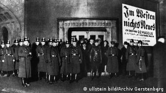 Nazis caused an uproar at the premiere of the film All Quiet on the Western Front in 1930; police were called in