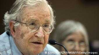 Renowned Jewish-American scholar and political activist Noam Chomsky speaking during a lecture in 2010 (Photo: KHALIL MAZRAAWI/AFP/Getty Images)
