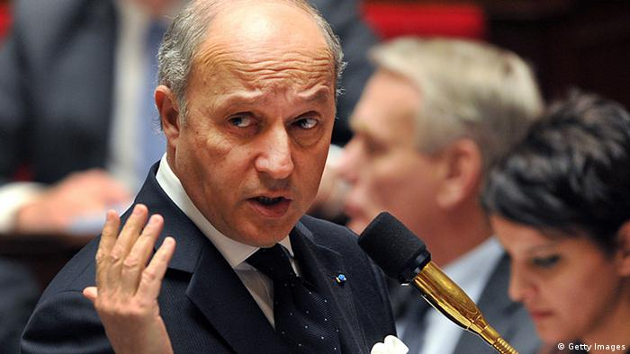 French Minister of Foreign Affairs Laurent Fabius addresses members of parliament during a weekly session of questions to the government on March 12, 2013 at the National Assembly in Paris. AFP PHOTO / PIERRE ANDRIEU (Photo credit should read PIERRE ANDRIEU/AFP/Getty Images)