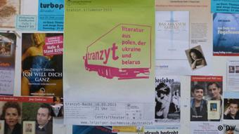 A poster for the tranzyt. Kilometer 2013 event at the Leipzig Book Fair 2013