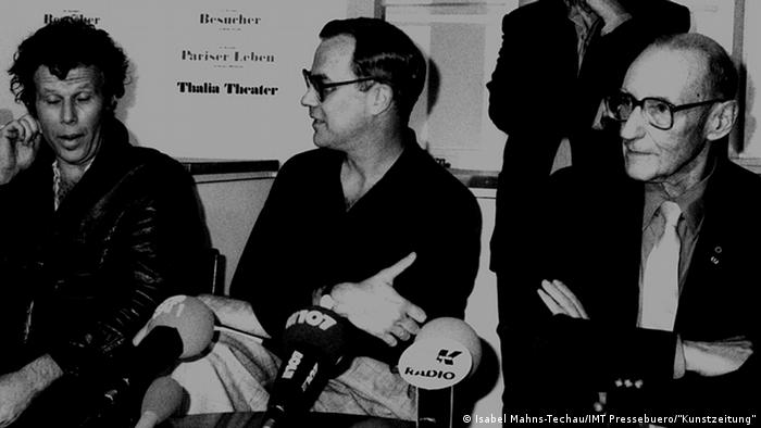 William S. Burroughs (r.) pictured with Robert Wilson and Tom Waits (l.) at the Hamburg premier of The Black Rider in 1990.