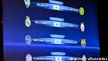 The match fixtures are shown on an electronic panel following the draw of the UEFA Champions League 2012/13 quarter finals at the UEFA headquarters in Nyon, Switzerland, 15 March 2013. The first leg matches of the UEFA Champions League 2012-13 quarter finals will take place on 03-04 April 2013. EPA/MARTIAL TREZZINI