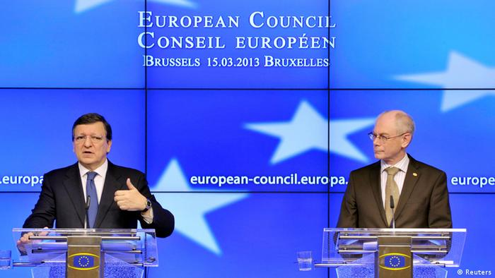 European Commission President Jose Manuel Barroso (L) and European Council President Herman Van Rompuy hold a news conference during a European Union leaders meeting in Brussels March 14, 2013. European leaders gathered in Brussels on Thursday with differences over austerity and how best to tackle the social costs of the debt crisis set to dominate their two-day summit. REUTERS/Eric Vidal (BELGIUM - Tags: POLITICS BUSINESS)