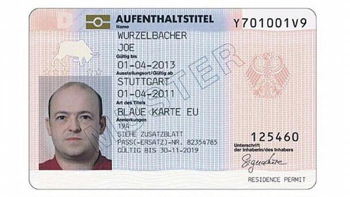 Образец выдаваемой в Германии голубой карты ЕС