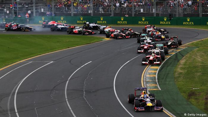MELBOURNE, AUSTRALIA - MARCH 17: Sebastian Vettel of Germany and Infiniti Red Bull Racing leads the field at the start of the Australian Formula One Grand Prix at the Albert Park Circuit on March 17, 2013 in Melbourne, Australia. (Photo by Mark Thompson/Getty Images)