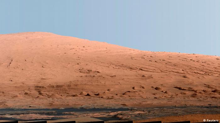 A picture showing part of Mount Sharp on Mars