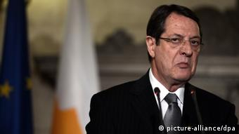 GettyImages 163507064 The newly elected Cypriot President Nicos Anastasiades speaks during a press conference after his meeting with Greek Prime Minister in Athens on March 11, 2013. Anastasiades is in Greece on a two-day working visit. AFP PHOTO / ARIS MESSINIS (Photo credit should read ARIS MESSINIS/AFP/Getty Images)