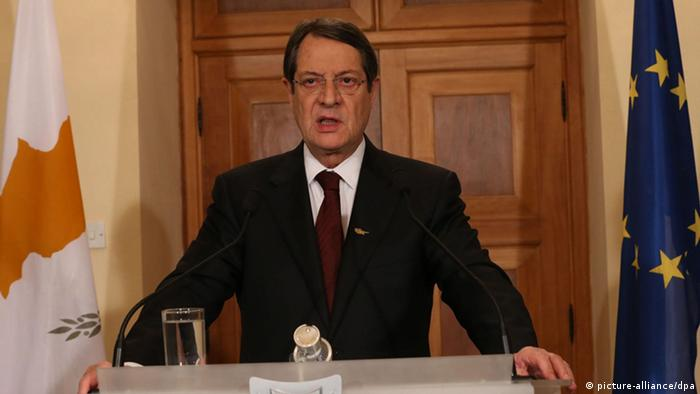 A Cypriot press and information office handout photograph shows Cypriot President Nicos Anastasiades speaking the people of Cyprus in a televised address (Photo: EPA/CYPRIOT PRESS OFFICE)