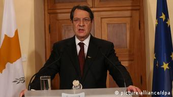 epa03629604 A Cypriot press and information office handout photograph shows Cypriot President Nicos Anastasiades speaking the people of Cyprus in a televised address , Nicosia, Cyprus late 17 March 2013, following the 16 March bailout agreement reached at a Eurogroup meeting to rescue the banking sector and the island`s economy. The President said the agreement may be painful but it was the only option EPA/CYPRIOT PRESS OFFICE / HANDOUT EDITORIAL USE ONLY/NO SALES EDITORIAL USE ONLY/NO SALES +++(c) dpa - Bildfunk+++