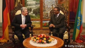 GettyImages 163886258 ADDIS ABABA, ETHIOPIA - MARCH 17: German President Joachim Gauck (L) talks with Ethiopian Prime Minister Hailemariam Desalegn before dinner at the Presidential Palace on the first day of his official visit on March 17, 2013 in Addis Ababa, Ethiopia. President Gauck and his partner, German First Lady Daniela Schadt, are in Ethiopia for a four-day state visit. (Photo by Sean Gallup/Getty Images)