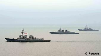 Navy vessels of South Korea and the U.S. participate in a joint military drill REUTERS/South Korean Navy/Handout
