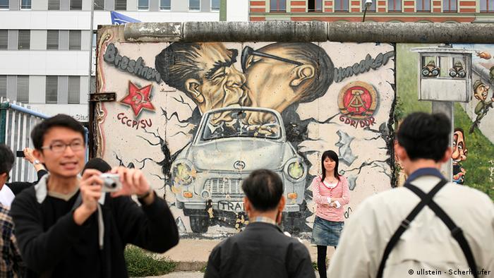 East Side Galerie mit asiatischen Touristen