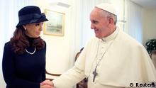 Argentine President Cristina Fernandez shakes hands with newly elected Pope Francis during a private meeting at the Vatican March 18, 2013.