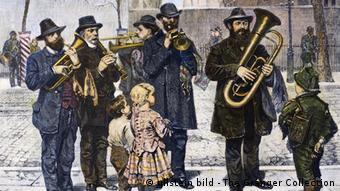 Ein deutsche Combo auf den Straßen New Yorks, Gemälde von 1879 (Foto: ullstein bild)