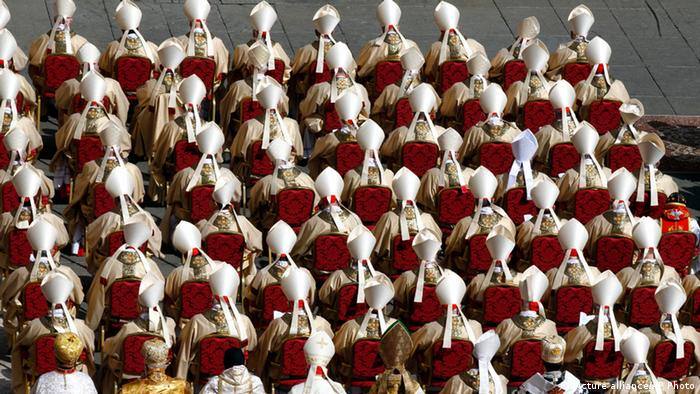 Cardinals attend Pope Francis' inaugural Mass in St. Peter's Square at the Vatican, Tuesday, March 19, 2013. Pope Francis has officially begun his ministry as the 266th pope, receiving the ring symbolizing the papacy and a wool stole symbolizing his role as shepherd of his 1.2-billion strong flock. (AP Photo/Andrew Medichini)
