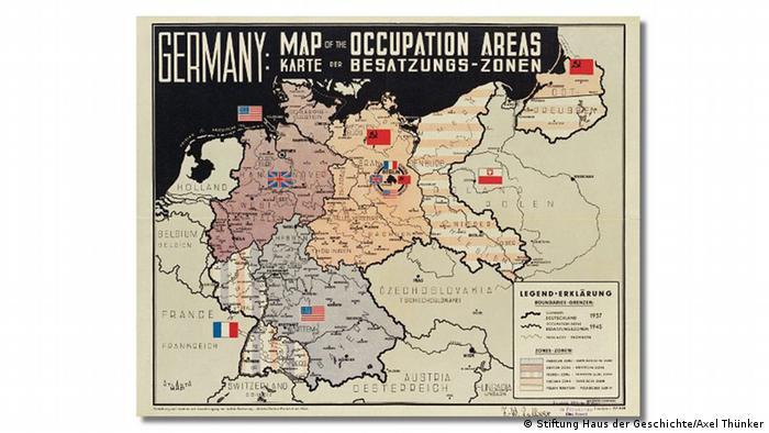 Karte der Militärregierung, Haus der Geschichte Bonn, Ausstellung The American Way. Die USA in Deutschland