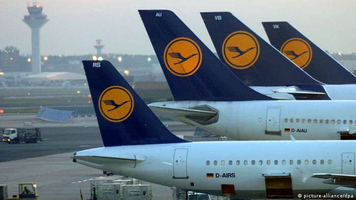 Самолеты компании Lufthansa в аэропорту Фракфурта