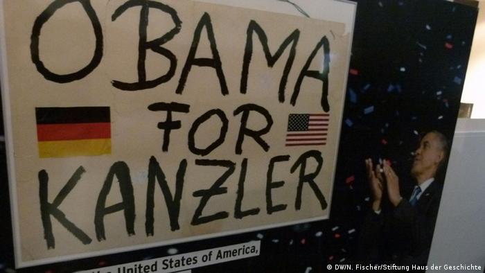 The American Way Die USA in Deutschland Ausstellung Haus der Geschichte Bonn Transparent Obama for Kanzler