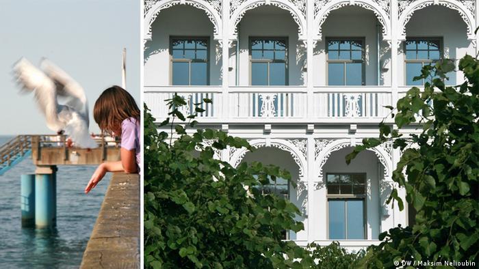 Морской причал Зеллин (Seebrücke Sellin) и фасад курортной виллы на острове Рюген. Фото: DW / Максим Нелюбин