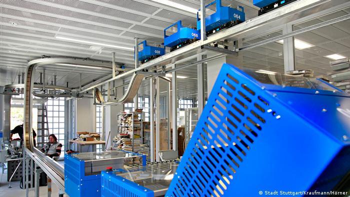 Сортировочная система для книг в городской библиотеке Штутгарта