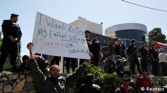 Obama fue recibido con protestas en Ramallah.