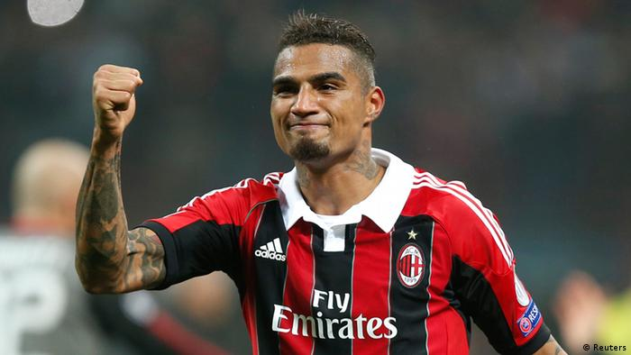 AC Milan's Kevin-Prince Boateng reacts at the end of the team's Champions League soccer match against Barcelona at the San Siro stadium in Milan February 20, 2013. REUTERS/Tony Gentile (ITALY - Tags: SPORT SOCCER)