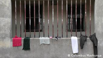 Clothes dry on a wall at Harare Central Remand Prison.Photo: Columbus Mavhunga
