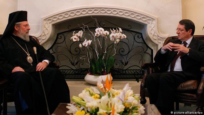 Erbischof Chrysostomos und Präsident Nikos Anastasiades (Foto: picture alliance)