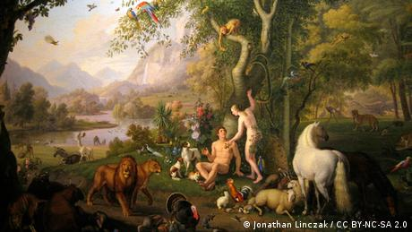 A painting of Adam and Eve in the Garden of Eden, oil on canvas by Peter Wenzel. Currently in the Vatican Museum (Foto: CC BY NC SA 2.0: Jonathan Linczak)