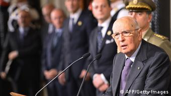 Giorgio Napolitano during a speech. (photo: VINCENZO PINTO/AFP/Getty Images)