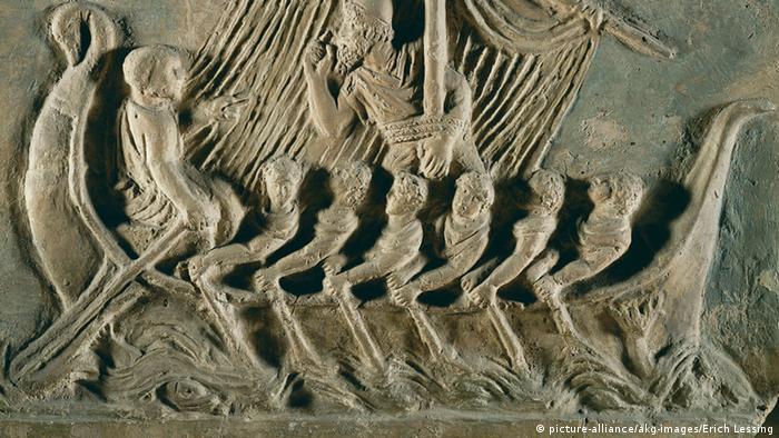 Ruderer auf Schiff des Odysseus / röm. Plastik (Illustration: Louvre Paris)