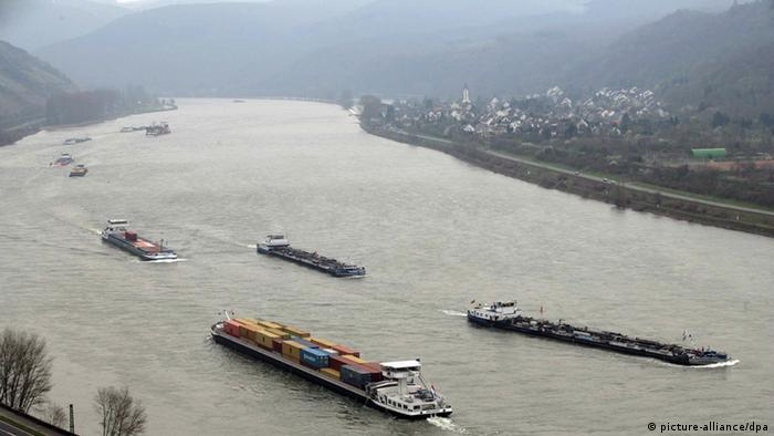 Commercial vessels on the Rhine river at Boppard, Germany