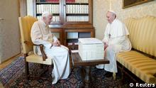 Pope Francis (R) talks with Pope Emeritus Benedict XVI at the Castel Gandolfo summer residence, south of Rome March 23, 2013. Pope Francis travelled by helicopter from the Vatican to Castel Gandolfo for a private meeting with former Pope Benedict XVI. REUTERS/Osservatore Romano (ITALY - Tags: RELIGION) ATTENTION EDITORS - THIS IMAGE WAS PROVIDED BY A THIRD PARTY. FOR EDITORIAL USE ONLY. NOT FOR SALE FOR MARKETING OR ADVERTISING CAMPAIGNS. THIS PICTURE IS DISTRIBUTED EXACTLY AS RECEIVED BY REUTERS, AS A SERVICE TO CLIENTS