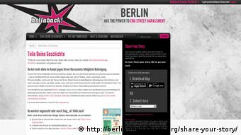 Screenshot http://berlin.ihollaback.org/share-your-story/