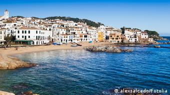 View of Calella de Palafrugell, a smal fishers village of Costa Brava, Spain. Harbour
