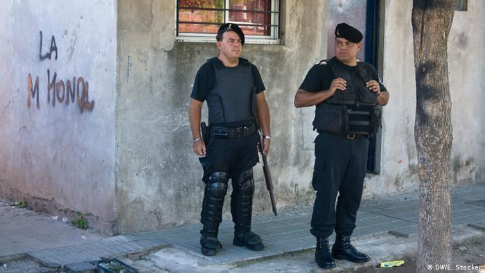 Police outside a drugs bunker during a raid in Rosario