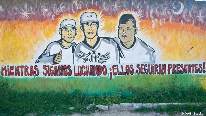 A mural dedicated to the three teenagers, including Mono, murdered in Villa Moreno on New Year's Day 2012