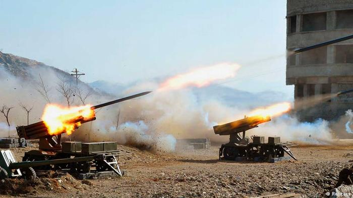 Rockets being fired by the North Korean military REUTERS/KCNA